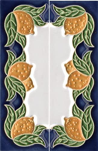 Números de casa, azulejos de cerámica italiana con números y letras, diseño de limón, tamaño del azulejo: 10 cm x 3,5 cm, 3 a 6 marcos de azulejos (extremos (juego de 2 azulejos))