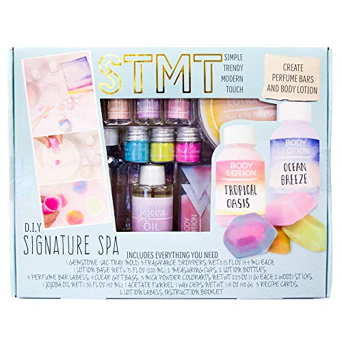 STMT DIY Signature Spa Kit by Horizon Group USA, Create 4 Personalized Perfume Bars & 2 Bottles of Lotion. Lavender, Rose & Vanilla Scents Included, Multicolored