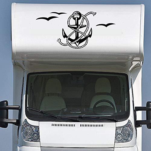 Pegatina Promotion Wohnmobil Wohnwagen Aufkleber Anker mit Tau & Möwen Typ1 ca 60cm hoch Sticker Autoaufkleber