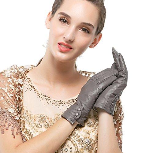 Nappaglo Damen Leder Handschuhe - Touchscreen Lammfell Langes Fleece Futter Winter Warm