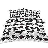 BlessLiving Cartoon Dogs Duvet Cover Set for Kids Children 3 Piece Black Labrador Retriever Dog Bed Set with Zipper Closure Super Soft Bedding Sets (Single)