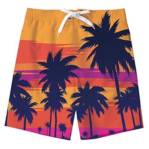 Jungs Palme Sweatpants Shorts 3D Kokosnussbaum Sommer Strand Shorts Hosen Schwimmen Badeshorts Kinder Badeanzug mit Taschen 8-10 Jahre