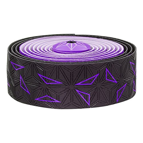 Supacaz Super Sticky Kush Star Fade Bar Tape Neon Purple Star Fade, Ano Purple Plugs, Set