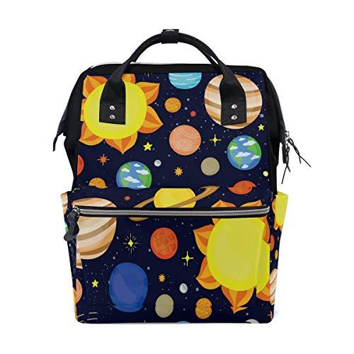Cute Dark Solar System Multi-Function Diaper Bags Backpack Travel Bag
