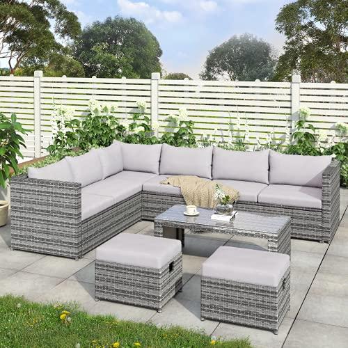 Rattan Garden Furniture Set, 8 Seater Corner Sofa Outdoor Conversation Furniture Sofa Set, All-Weather Wicker PE Rattan Furniture Sofa Set, With Coffee Table 2 Stools (Grey)