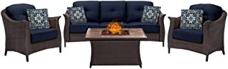 Hanover GRAM4PCFP-NVY-TN Gramercy 4-Piece Woven Outdoor Patio Set, Navy Blue with Stone Top Fire Pit
