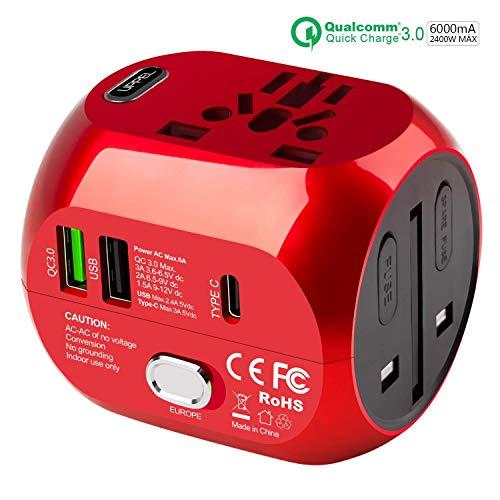 Milool Adattatore Universale da Viaggio con QC3.0 Quick Charge 2 Porte USB 3.0 e 1 Interfaccia Type-C US/EU/UK/AU in One Caricatore Multifunzioni per Oltre 180 Paesi, 2 Fuse (Spare Fuse) -Rosso