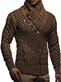 Leif Nelson Men's Knitted Jacket Turtleneck Cardigan Winter Pullover Hoodies Casual Sweaters LN5340;Size M, Camel-Brown