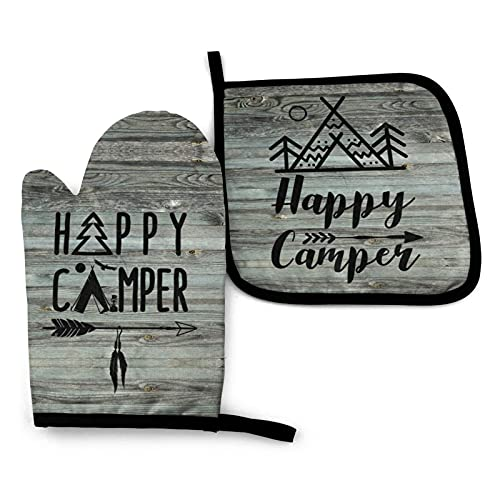 Happy Camper Oven Mitts and Pot Holders Set, Non-Slip Kitchen Mitten, Advanced Heat Resistance Waterproof Cooking Gloves for BBQ, Kitchen, Cooking, Baking, Grilling (Happy Camper-2)