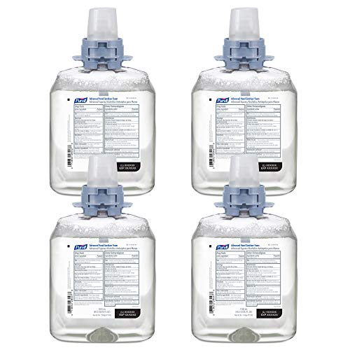 PURELL Advanced Hand Sanitizer Foam, 1200 mL Foam Hand Sanitizer Refill for PURELL FMX-12 Push-Style Dispenser (Pack of 4) - 5192-04