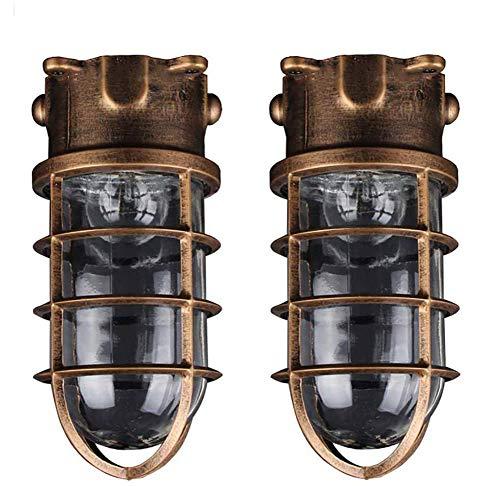 Antike Wandleuchte Lampe für Außen - und Innenbereich (spritzwassergeschützte Leuchte zur Decken- und Wandmontage, IP44) Eingang Terrasse Garten Wandlampe AußenDeckenleuchte【2 Stück】