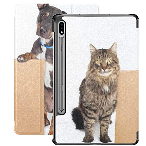 Funda Samsung Galaxy S7 Plus con Soporte para bolígrafo S Cat Dog Together Holding Funda de Cuero PU de cartón en Blanco para Samsung Galaxy Tab S7 Plus 12,4 Pulgadas 2020, Funda Samsung Galaxy Tab S