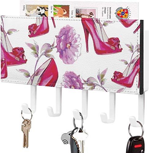5 Haken gemacht - Wandschlüssel Haken, Mail Schlüsselhalter, Mail Schlüssel Organizer, Pink Clip Art Lady High Heel Schuh Eingang Flur Schlafzimmer Haken Rack für Schlüssel, Wandhalterung mit 5 Haken