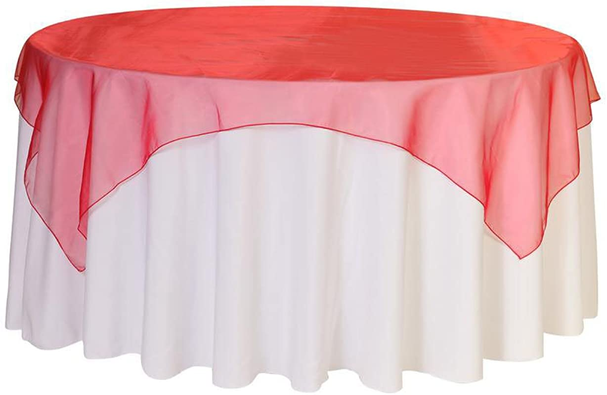 Your Chair Covers 90 Inch Square Organza Table Overlay Red Lightweight Sheer Organza Table Cloths