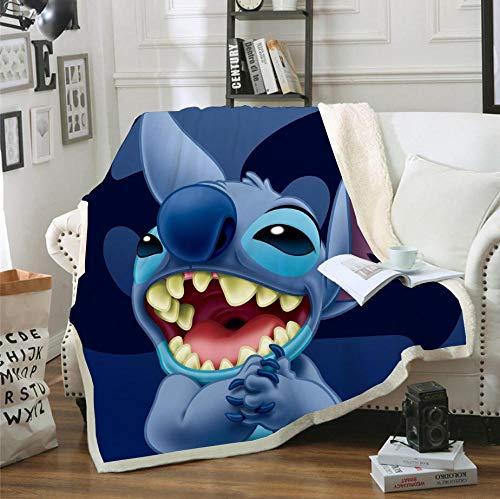 BraveLiuzhi Lilo & Stitch-Manta de Sherpa Estampada en 3D, Funda de edredón para sofá, Ropa de Cama de Viaje, Manta de Felpa de Terciopelo, Colcha de Forro Polar,150x200cm