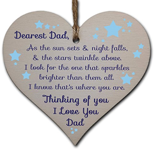 Handmade Wooden Hanging Heart Plaque Gift to remember Dad Loving Thoughtful Father Keepsake