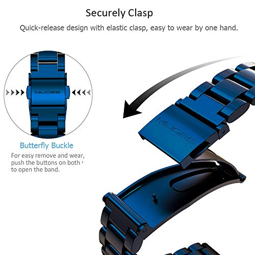 MIJOBS Replacement Strap Compatible with Xiaomi Mi Band 4, Stainless Steel Replacement Band Metal Bracelet Wristband Accessories for Xiaom Mi Band 3 Strap (Blue)