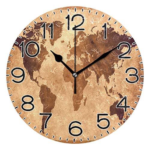 Reloj de pared con mapa del mundo antiguo, funciona con pilas, silencioso, analógico, de cuarzo, rústico, rústico, decoración retro para el hogar, cocina, sala de estar, baño