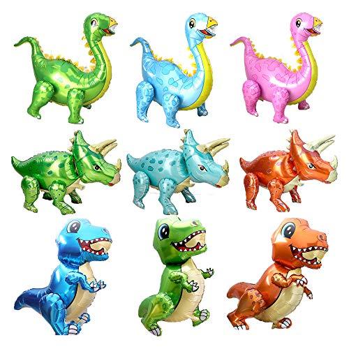 Polka Dot Sky Globos de helio para coche con diseño de dinosaurios de unicornio para niños, autobús, avión, ambulancia, cohetes, astronauta, camiones y globos de tren (9 dinosaurios)
