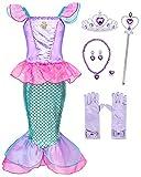 Hamanasu - Disfraz de sirena para niña, diseño de sirena, disfraz de cumpleaños, Navidad, Halloween, carnaval, cosplay para niños, color rosa 01,6-7 años