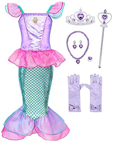 Hamanasu Fille Ariel Sirène Robe de Princesse Costume Déguisement Anniversaire Noël Halloween Partie Carnaval Cosplay Habillée Enfants Robes(Rose01,5-6Ans/130)