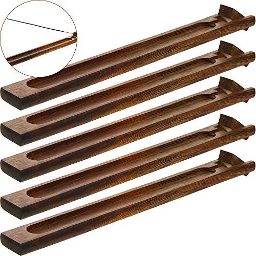 5 Stücke Bambus Holz Räucherstäbchen Halter Weihrauch Brenner Asche Fänger, 9,06 Zoll Lang (Braun)