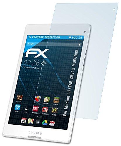 atFolix Schutzfolie kompatibel mit Medion LIFETAB S8312 MD98989 Folie, ultraklare FX Bildschirmschutzfolie (2X)