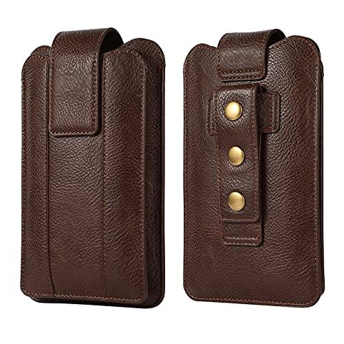 Vertical Bolso Cintura del Teléfono Celular, Riñonera para Celular Cuero Hombre, Universal Pequeña Hombres Funda Móvil con Clip para Cinturón Bolso Cintura Billetera con Trabilla de Cinturón Ajustable