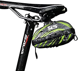 SLS3 Small Bike Saddle Bag Under Seat   Cycling Pouches Pack   Road/Mountain Bicycle Bags   Water Resistant Wedge Bag   Hard Shell Seat Post Bags   Click-On Saddlebag Bike