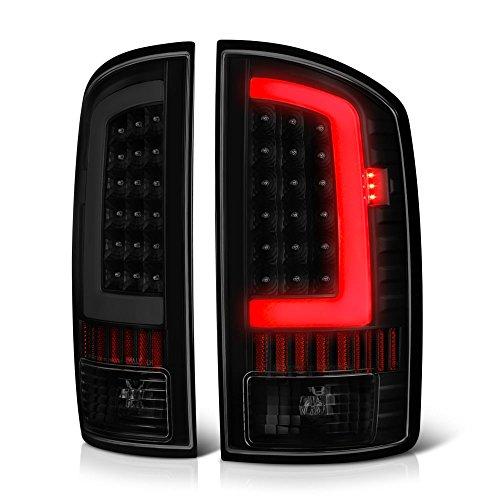 VIPMOTOZ OLED Neon Tube Tail Light Lamp For 2002-2006 Dodge RAM 1500 2500 3500 - Matte Black Housing, Smoke Lens, Driver & Passenger Side
