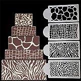 4pcs / Set Cebra Piel de Leopardo Salvaje Estilo de la Torta de la Plantilla del aerógrafo Pintura Animal Molde Galletas Pasta de azúcar Mousse Decoración Moldes