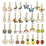 16 Pairs Girls Hypoallergenic Huggie Hoop Earrings with Charm Small Dangle Hoop Earrings Set for Teen Girls