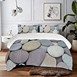 LUOWAN Bedding Set of 3 (1 Cover, 2 Bed Pillowcase Without Sheet) Purple Beach Outdoors Stone Comparison Smooth Stack Toughness High England Somerset Pebble Duvet Cover Personalization