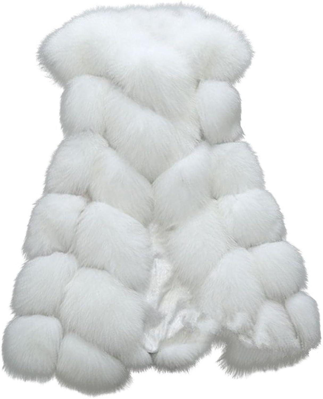 Kingf Women Long Slim Vest Faux Fox Fur Waistcoat Jacket Coat Warm Gilet Outwear