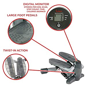 Sunny Health & Fitness S0636 Twist-in Stepper Step Machine w/ LCD Monitor