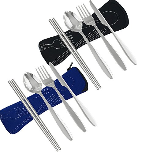 Tinkber 8 Stück Edelstahl Besteck Sets Messer, Gabel, Löffel, Stäbchen, Camping Picknick Utensil Travel Working Wandern Besteck mit Neopren-Etui (Schwarz & Dunkelblau)