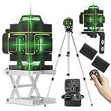 Niveau Laser 360° Vert 4D 16 Lignes, KKmoon® Laser Chantier 3° Auto-nivelant, avec 2 Batteries et Support Rotatif, Support de Trépied de Barre d'extension d'alliage 1,5 m 3 Hauteurs Réglables et Sac