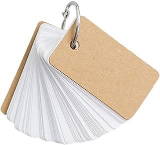 1KTon Blank Page kraft Kraft Paper Binder Ring Easy Flip Flash Card Study Cards/Memo Scratch Pads/Bookmark/DIY Greeting Card/Index Card Stock/Note Card