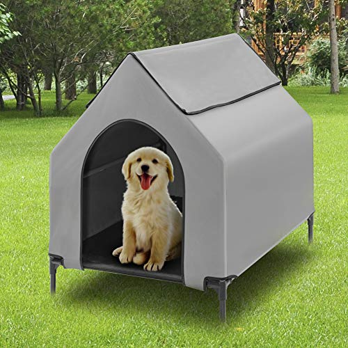 Fit Choice Elevated Dog House, Portable Dog House Crate for Indoor & Outdoor, Water Resistant Breathable 600D PVC, 2x1 Textilene Bed, 1x1 Textilene Window, Extra Carrying Bag (Large)
