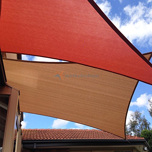 TANG Sunshades Depot 16' x 20' Sun Shade Sail Square Permeable Canopy Brown Coffee Custom Commercial Standard 180 GSM HDPE