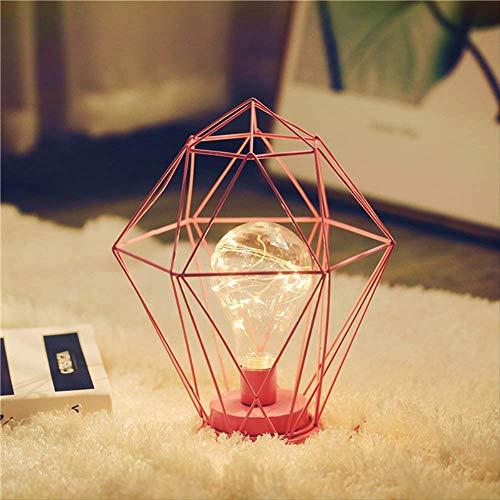 Lámpara de mesa LED 3D vintage de hierro estilo nórdico, lámpara de mesa LED rosa de hierro forjado blanco cálido luz cobre luz luz nocturna hogar decoración