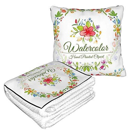 Manta de viaje con diseño de flores de acuarela y combinación de almohada, manta de almohada para coche, almohada interesante