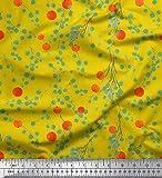 Soimoi Gelb Baumwolle Ente Stoff Blätter & Orange Obst