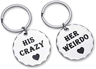 Couple Keychains Set Gift for Him and Her Anniversary Wedding Gifts for Girlfriend Boyfriend Husband Wife Best Friend Gifts His Crazy Her Weirdo Long Distance Relationship Valentine Key Ring Charm