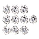 PRETYZOOM - 10 unidades de adornos de cristal Flatback Strass botones DIY artesanía joyas fabricación accesorios para ropa Scrapbooking broche botón lazo de pelo boda decoración (plata)
