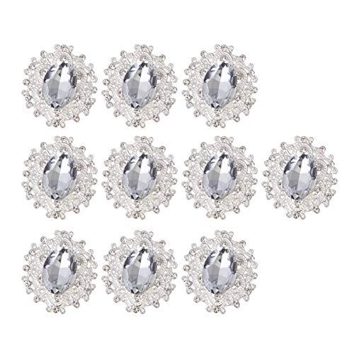 PRETYZOOM - 10 unidades de adornos de cristal Flatback Strass botones DIY...