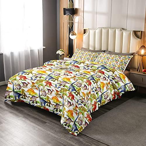 Juego de cama Kawaii de dinosaurios para niños, jóvenes, adolescentes, dibujos animados, animales, dormitorio, decoración, edredón, diseño de dinosaurios, 135 x 200 cm