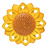 SONGXIN Metal Flower Wall Art Inspirational Floral Wall Decor Home Accent Hanging Decoration for Office Living Room Patio Kitchen, Porch, Hallway, Garden(13 Inch Yellow Sunflower)
