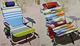 2 Tommy Bahama 2015 Backpack Cooler Chairs with Storage Pouch and Towel Bar (1 green striped...