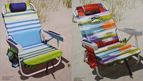 2 Tommy Bahama 2015 Backpack Cooler Chairs with Storage Pouch and Towel Bar (1 green striped and 1 multicolor) by Tommy Bahama